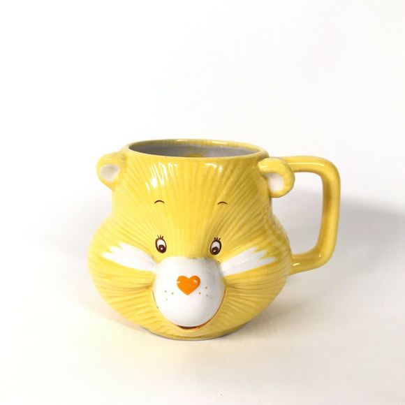 Vintage 80s Yellow Care Bear Funshine Bear Sculpted 3D Ceramic Coffee Mug Korea